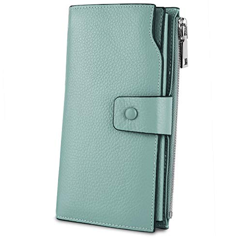 YALUXE Women's Genuine Leather RFID Blocking Large Capacity Luxury Clutch Wallet Card Holder Organizer Ladies Purse Wallets for women pebbled light green - Fold Genuine Leather Wallet