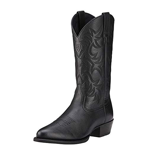 Ariat Men's Heritage Western R Toe Cowboy Boot, Black Deer Tan, 9.5 D US from ARIAT