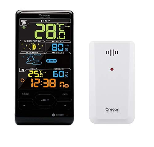 Oregon Scientific BAR208SX Advanced Wireless Weather Station with Humidity, Radio Controlled Clock and Weather Forecast - Color LCD Screen