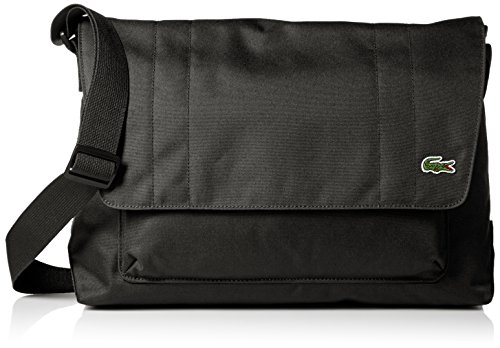 Lacoste Men's Neocroc Messenger Bag with Zip, Black by Lacoste