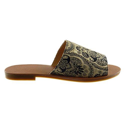 a 1 Slip cm BY018 Moda 38 Ricamo Mules T Scarpe on Blocco Donna Fantasia 5 Scuro Tacco Sandali Angkorly 1 Blu q7I6pvwx
