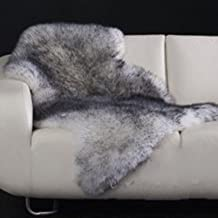 Yilong Carpet Australian Sheepskin Rug One Pelt Ivory Natural Fur, Single, Approx. 2.1ft. x 3.3ft. (Black)
