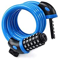 Bike Lock - 5 Digit Combination Lock for Bicycle/Bike, 4ft Blue Secure Quality Cable Lock