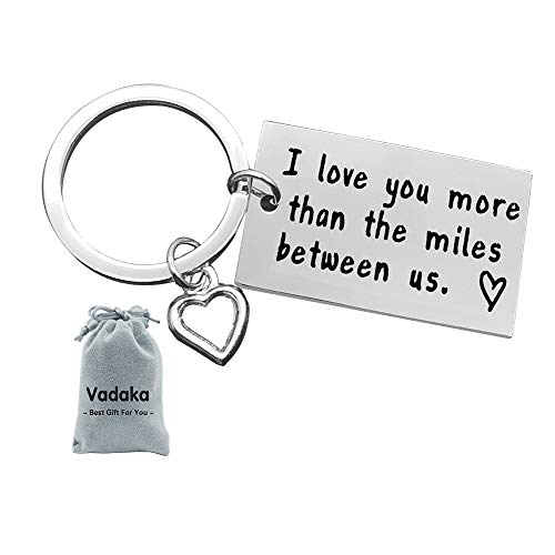 Couple Keychain, I Love You More Than The Miles Between Us Long Distance Relationship Gift for Boyfriend Girlfriend Brithday Valentines Gift Personalized Couples Jewelry Going Away Gift Keychain (Best Valentine Gift For Long Distance Boyfriend)