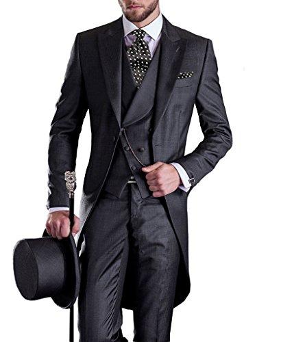 GEORGE BRIDE Premium Mens Tail Tuxedo 3pc Tailcoat suit in Gray ,Suit Jacket, Vest, Suit Pants,Black,XL