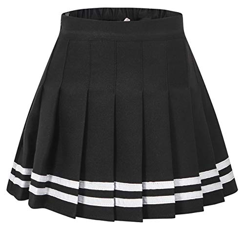 Girls Pleated Short Plaid Skirt Skort, School Uniform Cosplay Costume Skirt for Toddlers, Little & Yougth Big Girls, Black with Stripe/New Version, Tag 170 = 13-14 Years]()
