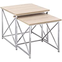 Adeco 2-Pieces Multi-function Nesting Table Sets, Wooden Style Table Top Chrome with Metal Cross Legs, 2 Pcs