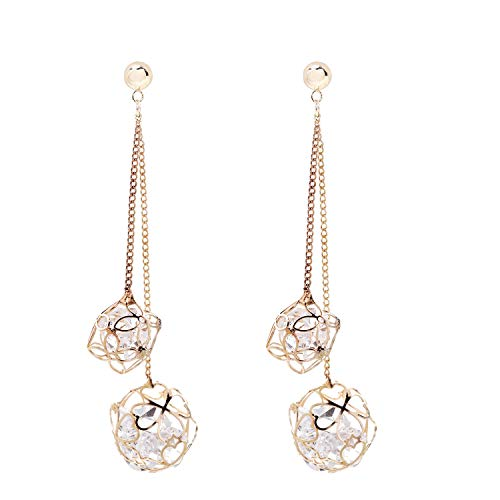 SILVERAL Dangle Earrings for Women Hollow Crystal Ball Drop Earrings Pierced Earrings (Crystal Ball Golden) ()