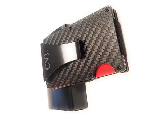 CVL Carbon Fiber Wallet-Card Holder for Women Men and Women -RFID Blocking Front Wallet - Slim wallet- Money Clip- Business card wallet