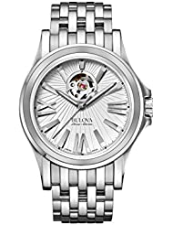 Bulova Mens Kirkwood Swiss Automatic Stainless Steel Casual Watch, Color:Silver-Toned (Model: 63A125)