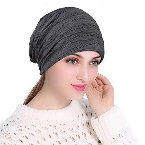 hositor Hat Women, Women Soild India Muslim Stretch Turban Hat Knitting Hair Loss Head Scarf Wrap ()