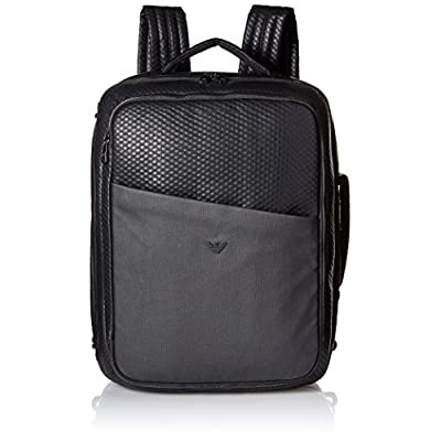 Armani Jeans Men s Embossed Pu and Canvas Big Backpack with Eagle Logo  durable service b4d6df4990f69