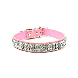 Strimm Fashionable Studded Sparkly Diamond Rhinestone Soft Leather Dog Collar for Small/ Medium/ Large Pets-S,Pink