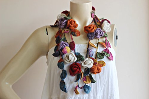 Multicolor Crochet Necklace-Multicolor Lariat Scarf-Rose Lariat Scarf-Mohair Crochet Scarf with Gold Glitter- Autumn Scarf-Christmas Gift For Her Girlfriend Wife Mother (Gold Mohair)