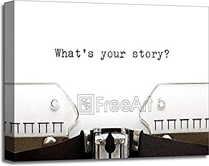 Amazon com: Typewriter What is Your Story Gallery Wrapped Canvas Art