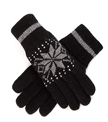 Men Gloves Warm Winter Thick Outdoor Wool lined Black Knit Gloves