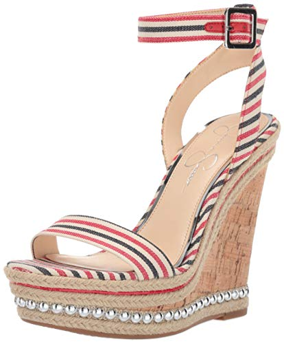 Jessica Simpson Women's ALINDA Wedge Sandal, Red/Navy Multi, 8 M US
