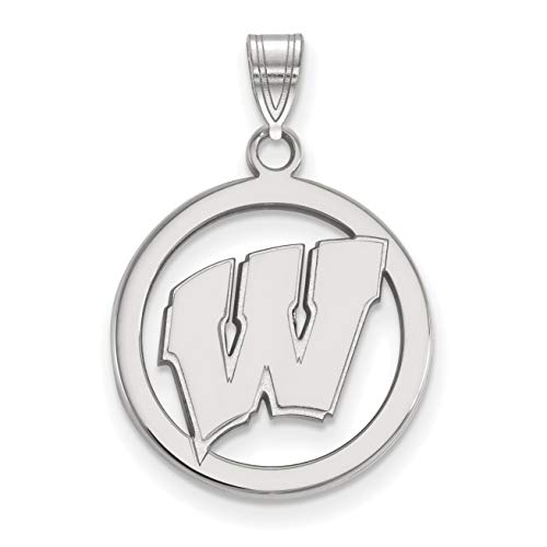 Wisconsin Badgers School Letter Logo in Sterling Silver Circle Pendant 19x18mm