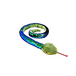 Snake Plush Stuffed Animal Reversible Sequins (Blue & Green / Black)