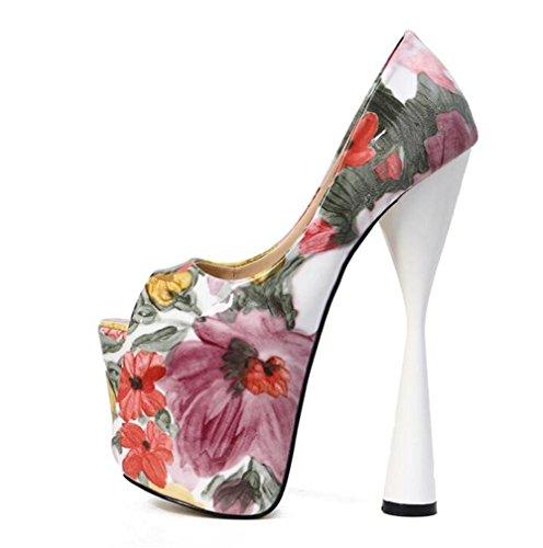 Et Soirée Pour Xie Club forme Fête Sandales Toe Talon Haut Plate Chaussures À Open Des Pink eu39 Impression Bloc 41 Pompes 35 Femmes Taille PqFpvq