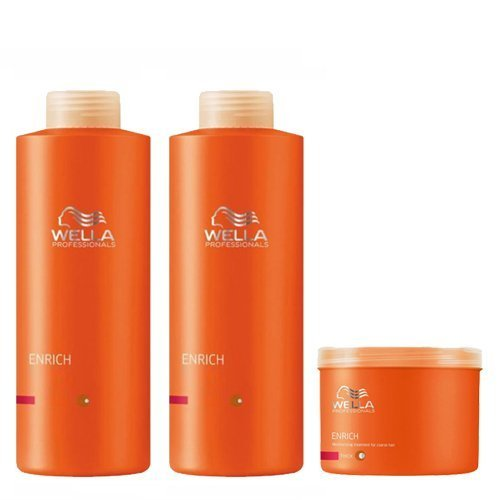 Wella Professionals Enrich Volumising Shampoo Moisturising Conditioner & Mask Supersize Bundle for Fine to Normal Hair by Wella Professionals