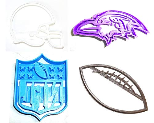 - BALTIMORE RAVENS NFL FOOTBALL LOGO HELMET SET OF 4 SPECIAL OCCASION COOKIE CUTTERS BAKING TOOL 3D PRINTED MADE IN USA PR1130