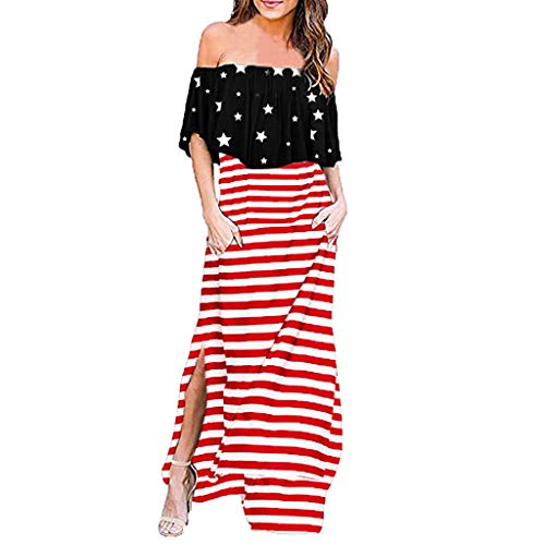 Mikilon Womens Off The Shoulder Ruffle Party Dresses Side Split Beach Maxi Dress