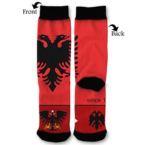 Albanian Flag History and Evolution Socks Funny Fashion Novelty Advanced Moisture Wicking Sport Compression Sock for Man -