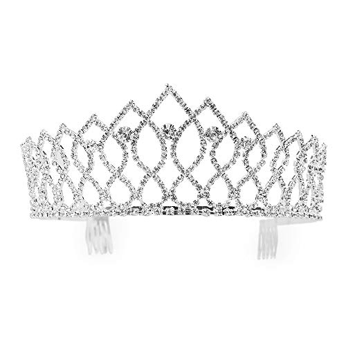 - Charming Rhinestone Heart Flower Design Tiara Crown Headband Comb Pin Wedding Bridal Party Birthday Tiaras (#6)