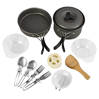 Outdoor Camping Cookware Set 12 PCS Camp Cooking Gear