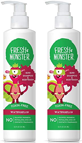 Fresh Monster Toxin-Free Hypoallergenic 2-in-1 Kids Shampoo & Body Wash, Watermelon, 2Count, 8.5 oz