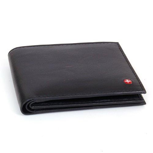 Men's Leather Wallet Euro Traveler style with Center Flip ID Window - Black