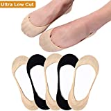 No Show Socks Women Flats Non Slip Low Cut Liner Socks Invisible for Loafers Boat 5 Pairs