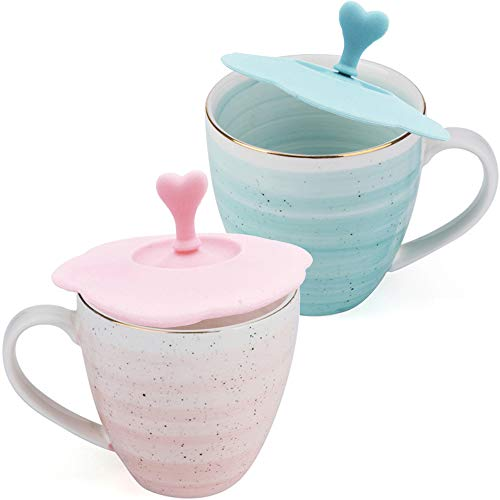 e Mug with Lid Set of 2, Tea Cups with Hand Painted Stripe, 11 oz Pink/Blue/Gold, Anniversary Gifts for Couple ()