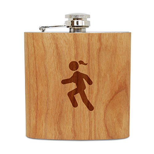 WOODEN ACCESSORIES COMPANY Cherry Wood Flask With Stainless Steel Body - Laser Engraved Flask With Triathalon Design - 6 Oz Wood Hip Flask Handmade In - Triathalon Usa