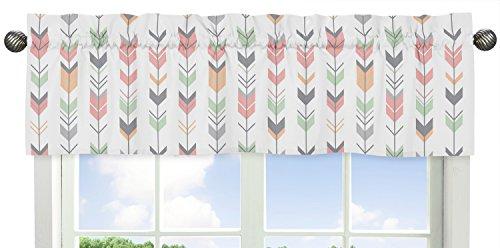 Sweet Jojo Designs Grey, Coral and Mint Woodland Arrow Print Girls Window Valance