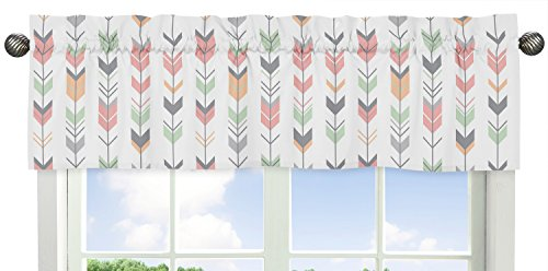 Grey, Coral and Mint Woodland Arrow Print Girls Window Valance