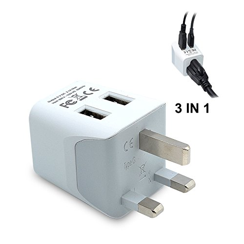 Ceptics USA to UK, Hong Kong Travel Adapter Plug  With Dual