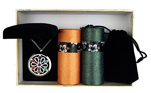 Amberlys Multipurpose Essential Oil Diffuser Necklace Jewerly/Aromatherapy Locket Premium Gift Set in Velvet Gift Box by (Chakra Necklace)