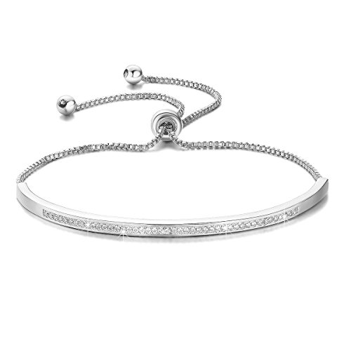 SHINCO Women Bracelets 18k White Gold Plated Graduation Gifts for Girls CZ Diamond Adjustable Chain Bracelet, Fashion Jewelry Box Included