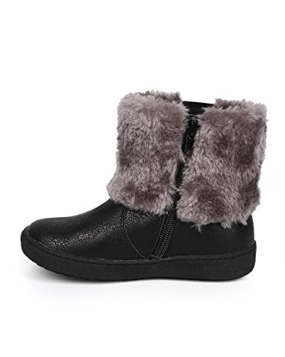 JELLY BEANS Metallic Fur Rhinestone Zip Winter Boot (Toddler/Little Girl) DC67 - Black (Size: Toddler 10) by JELLYBEANS (Image #3)