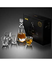 JoyJolt Atlas 5-Piece Crystal Whiskey Decanter Set,100% Crystal Bar Set, Crystal Decanter Set Comes with A Scotch Decanter-22 Ounces and A Set of 4 Old Fashioned Whiskey Glasses-10.8 Ounces.