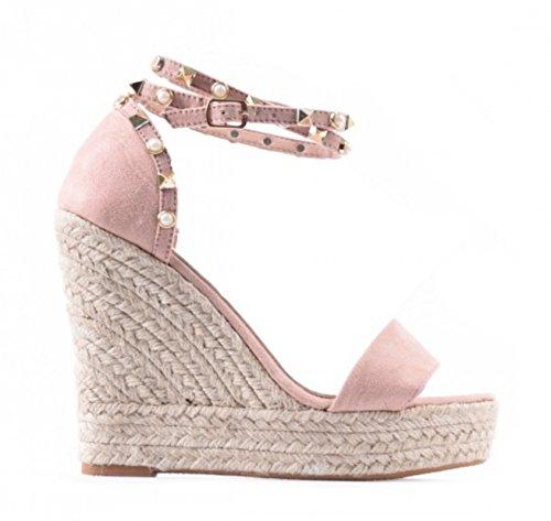 King Of Shoes Damen Riemchen Mary Jane Keil Pumps Keilabsatz Peep Toes Spangenpumps Plateau High Heels Wedges 471 Pink
