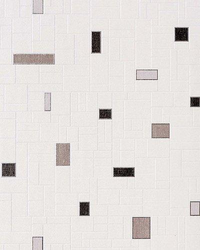 Küchentapete Stein Tapete EDEM 584-20 Vinyl Tapete Fliesen Kacheln Mosaik Optik Bad Flur hochwaschbar weiß grau schwarz