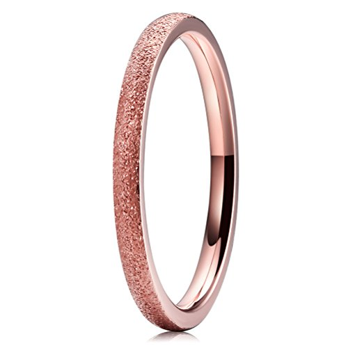 THREE KEYS JEWELRY 2mm Titanium Wedding Ring for Women Matte Frostd Plated Rose Gold Wedding Band Engagement Ring Size 10