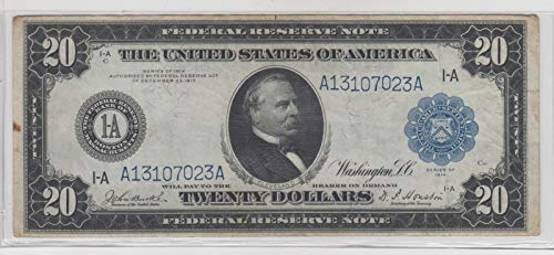 1914 $20 Large Federal Reserve Note Blue Seal VG - Federal Reserve Note Blue Seal