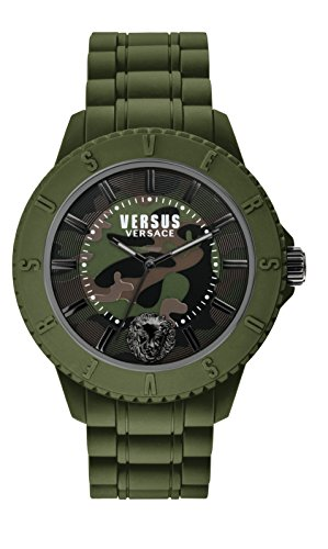 Versus by Versace Men's 'TOKYO_R' Quartz Stainless Steel and Silicone Casual Watch, Color:Black (Model: - Versace Logo Lion