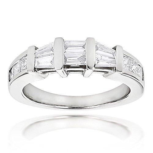 Ladies Ring 14k Gold Baguette and Princess Cut Diamond Wedding Band 0.9ctw (White Gold, Size 10) (Princess And Baguette Cut Diamond Eternity Ring)