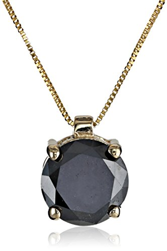 10k Yellow Gold Round Black Diamond Solitaire Pendant Necklace (1.50 ct), 18″
