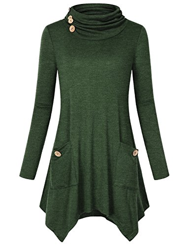 Hibelle Long Sleeve Blouse, Girls Turtleneck Casual Daily Wear Holiday Simple Jersey Fall Tunic Flare Flowy Loose Fitted Workout Tee Shirt Cozy Cotton Tops Green XL